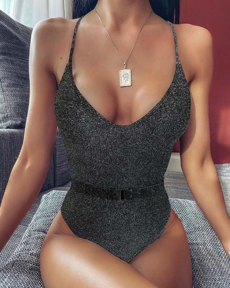 chicme / Glitter Spaghetti Strap One Piece Swimsuit