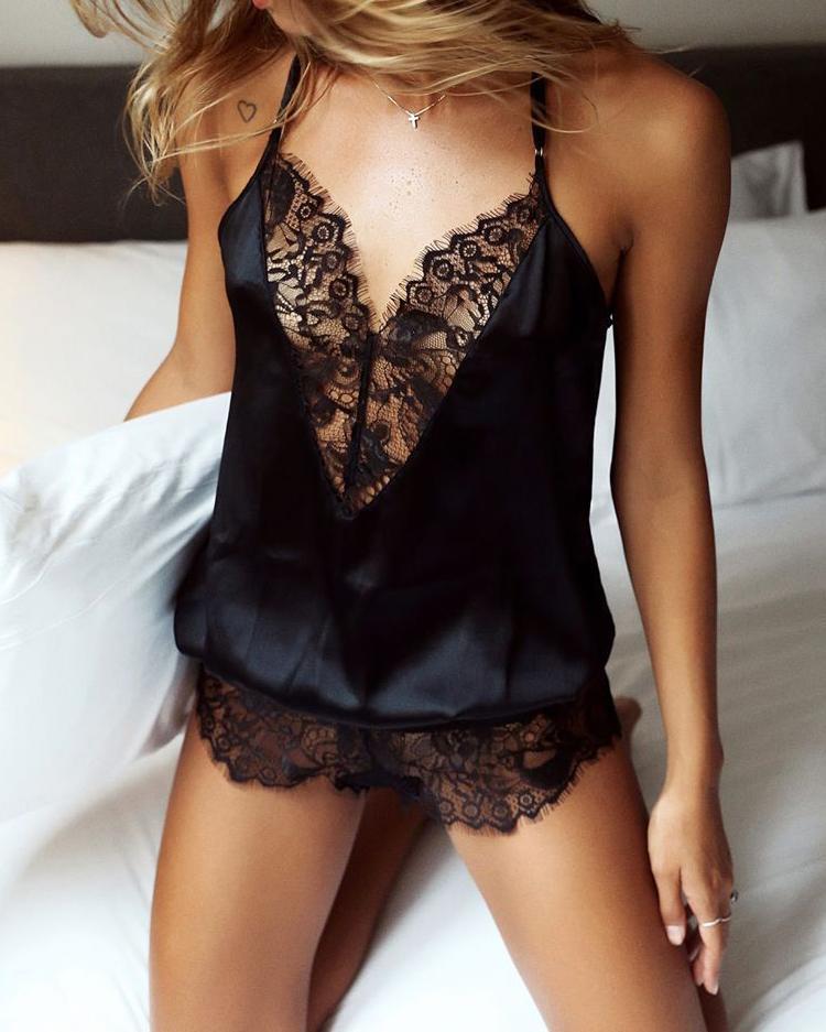 chicme / Cinta de espaguete Renda Cílios Teddy Lingerie Pijamas