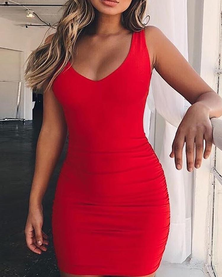 Low Cut Shirring Open Back Bodycon Dress фото