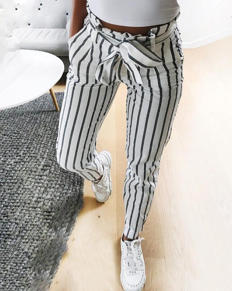 chicme / Fashion Striped Belted Casual Pants