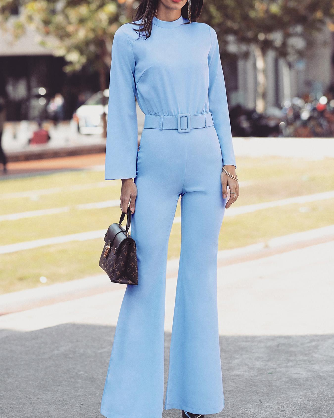 High Neck Bell Sleeve Wide Leg Jumpsuit With Belt