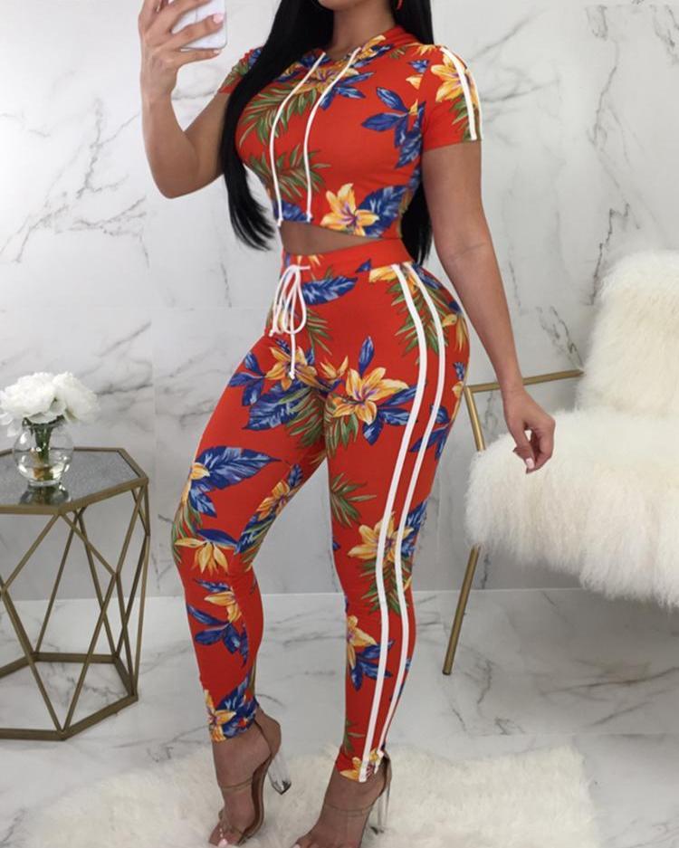 chicme / Floral Print Crop Top & Drawstring Pants Set
