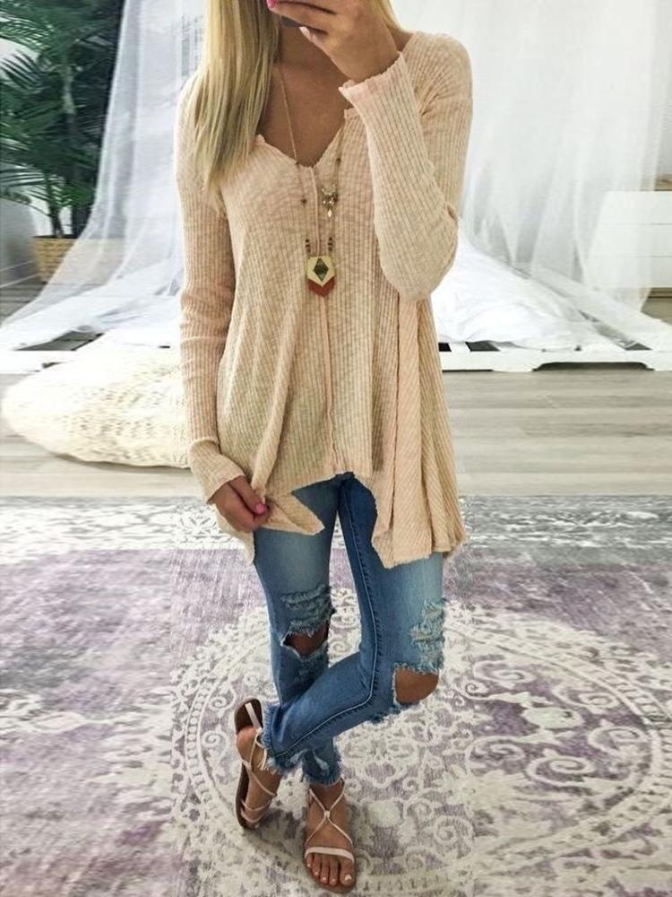 Plus Size V Neck Rib Sweater