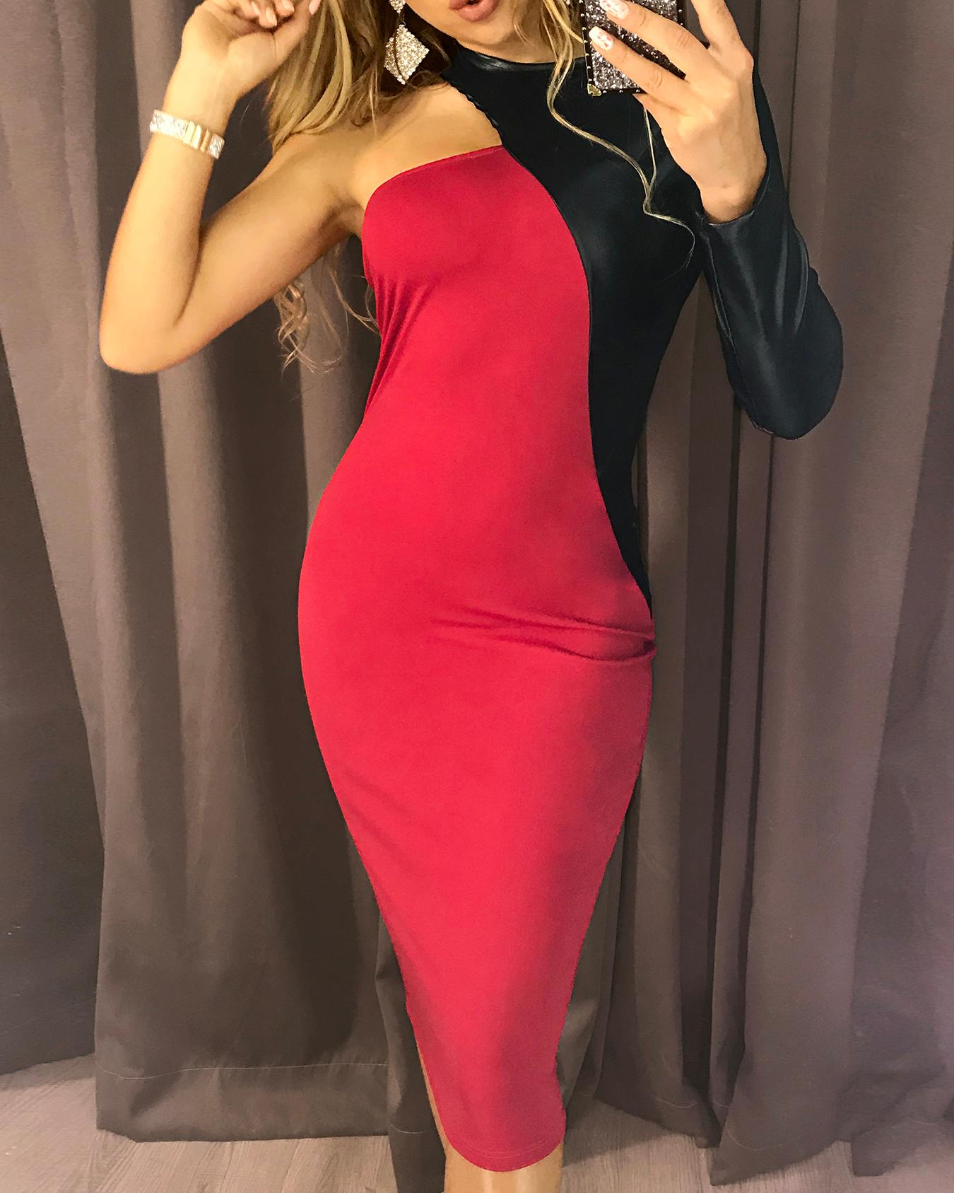 PU Splicing One Long Sleeve Party Dress, Red