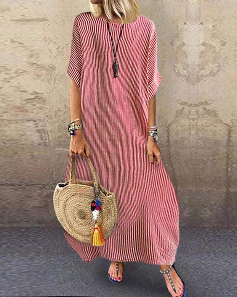 Striped Half Sleeve Loose Maxi Dress фото