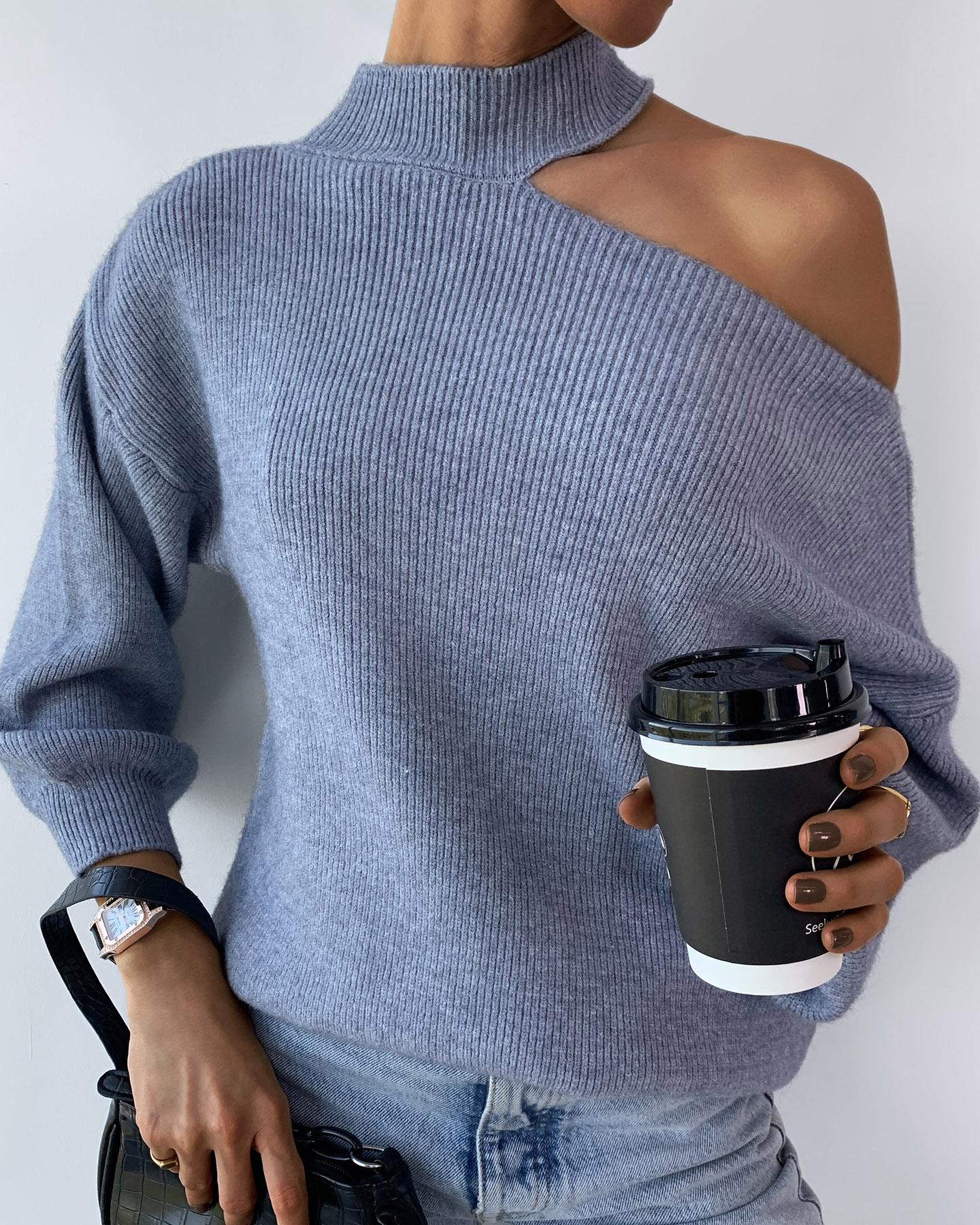 One Shoulder Knit Long Sleeve Sweater фото