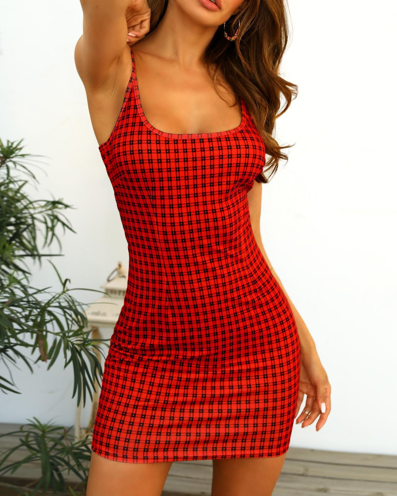 Grid Print U Neck Slip Bodycon Dress фото