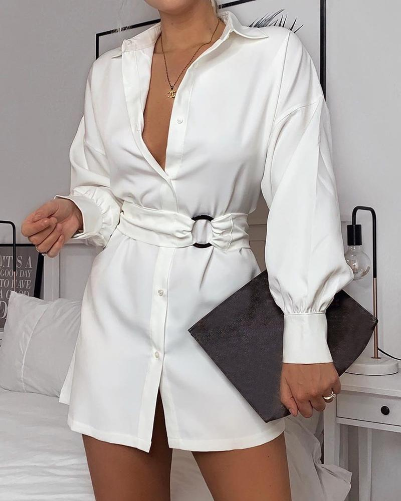 boutiquefeel / Vestido camisero anudado con botones lisos