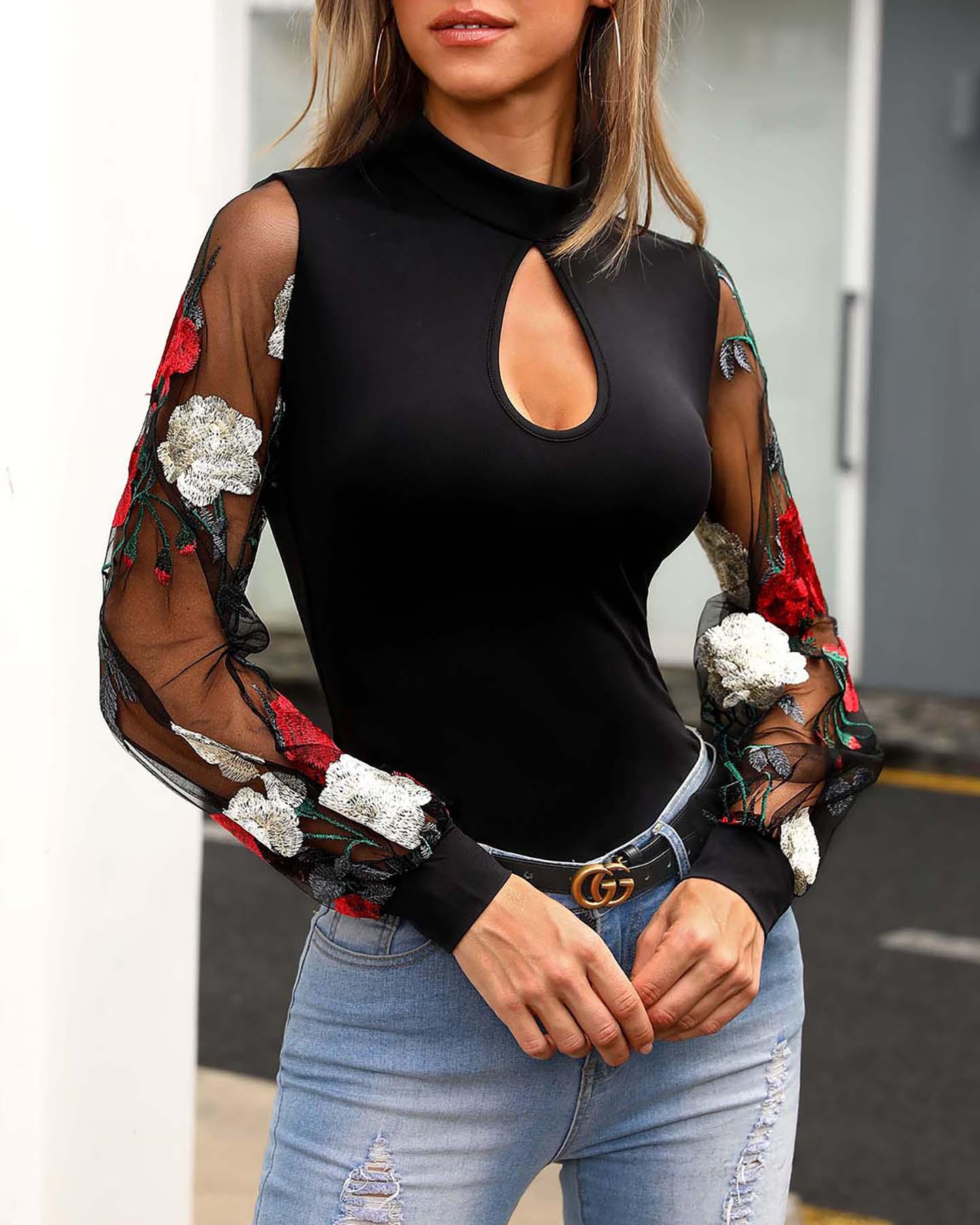Floral Embroidery Sheer Mesh Sleeve Blouse, Black