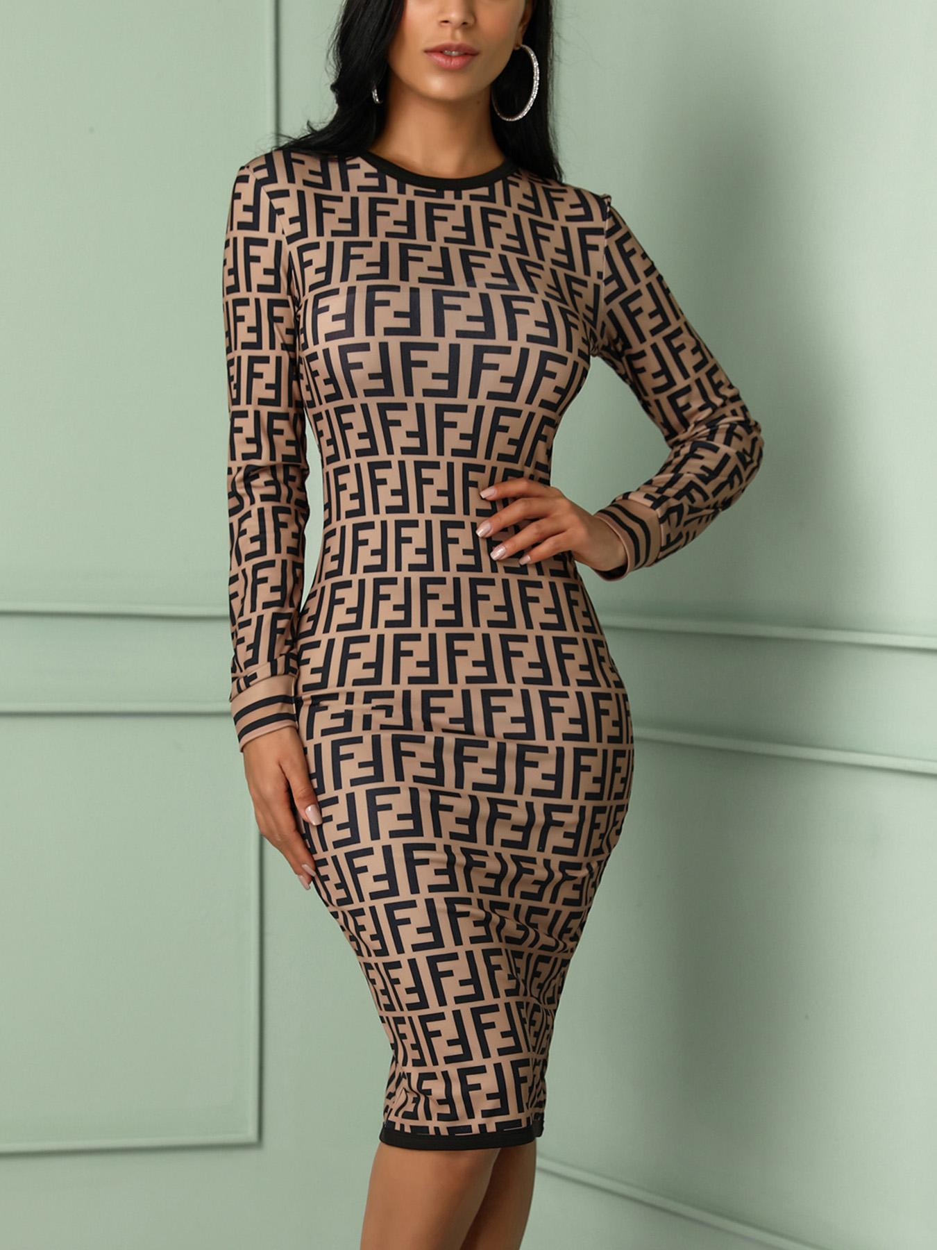 Double F Inspired Print Bodycon Dress
