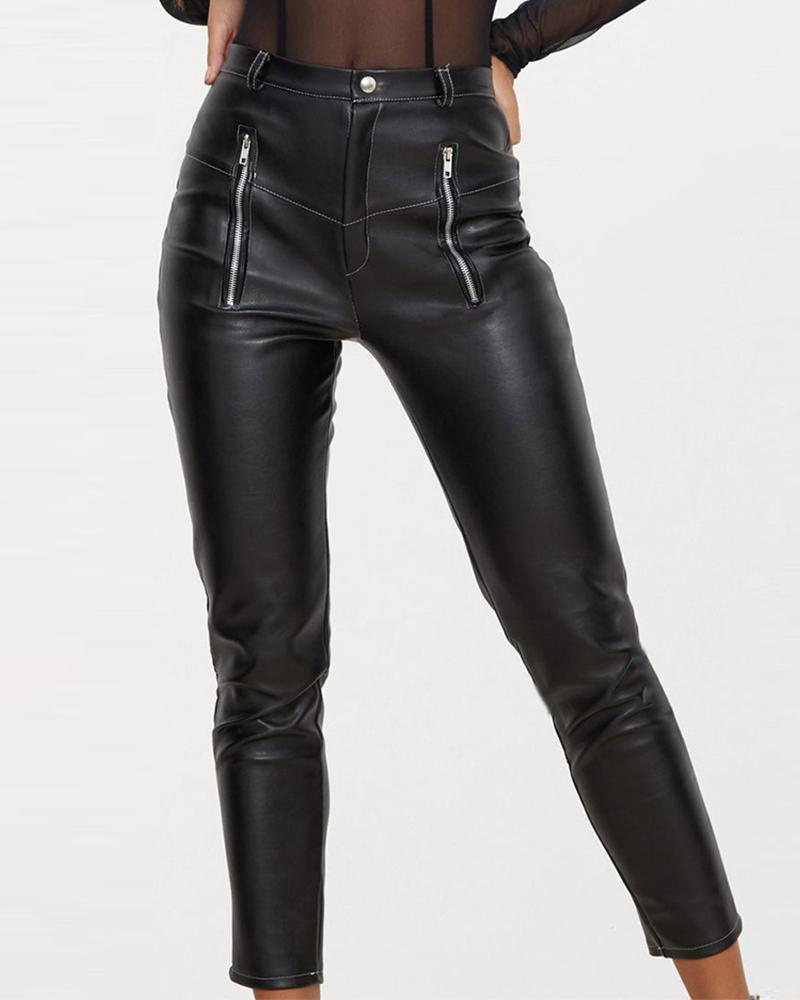chicme / Faux Leather Zipper Design Pant