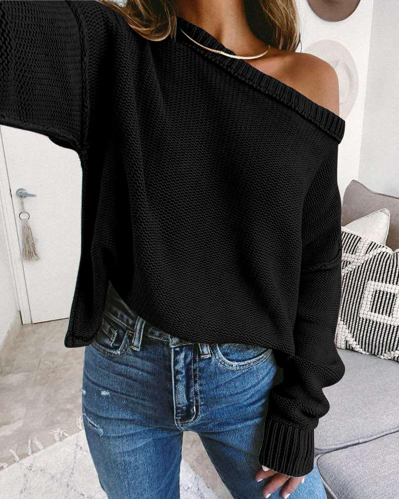 Drop Shoulder Long Sleeve Knit Casual Sweater фото