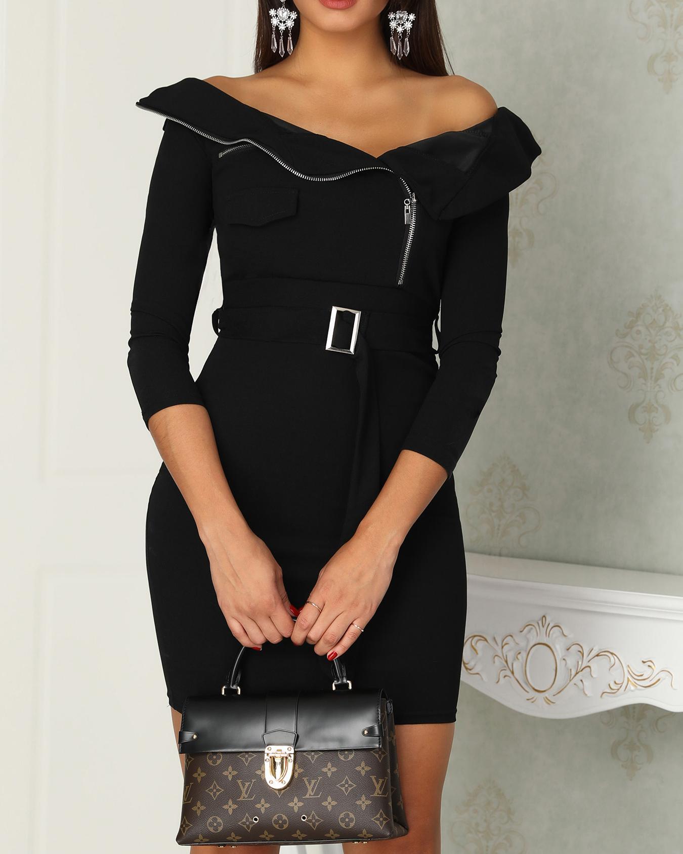 Off Shoulder Zipper Design Belted Dress