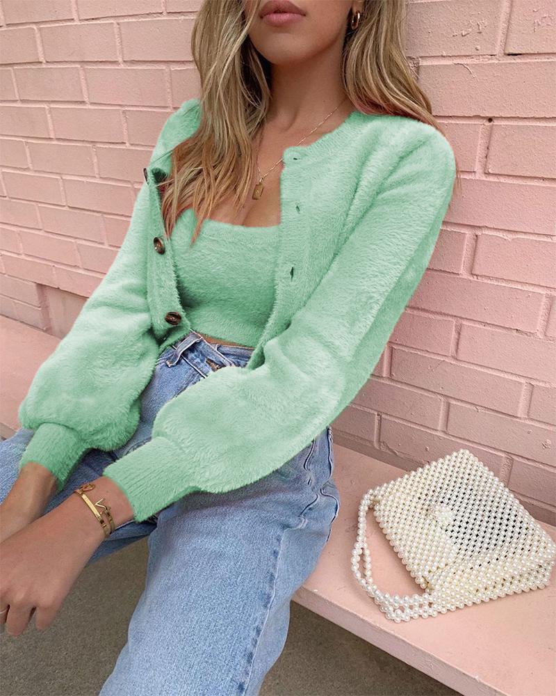 joyshoetique / Warm Fluffy Long Sleeve Coats & Tank Top Sets