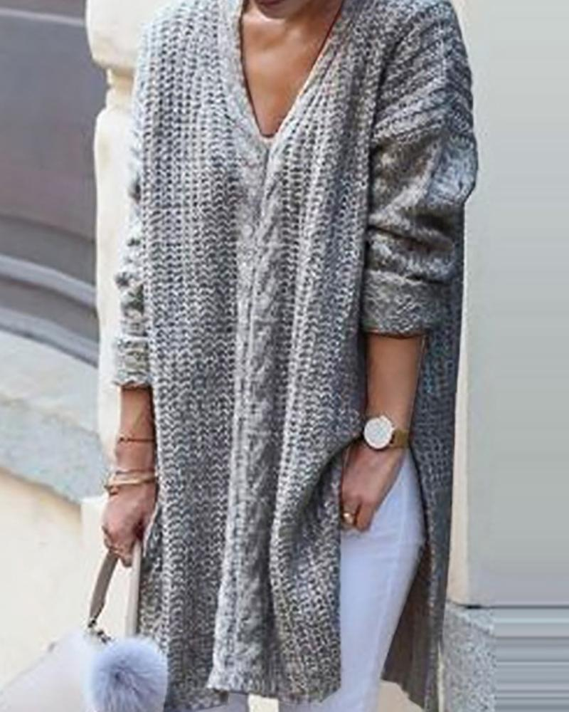 Solid Long Sleeve Casual Slit Sweater фото