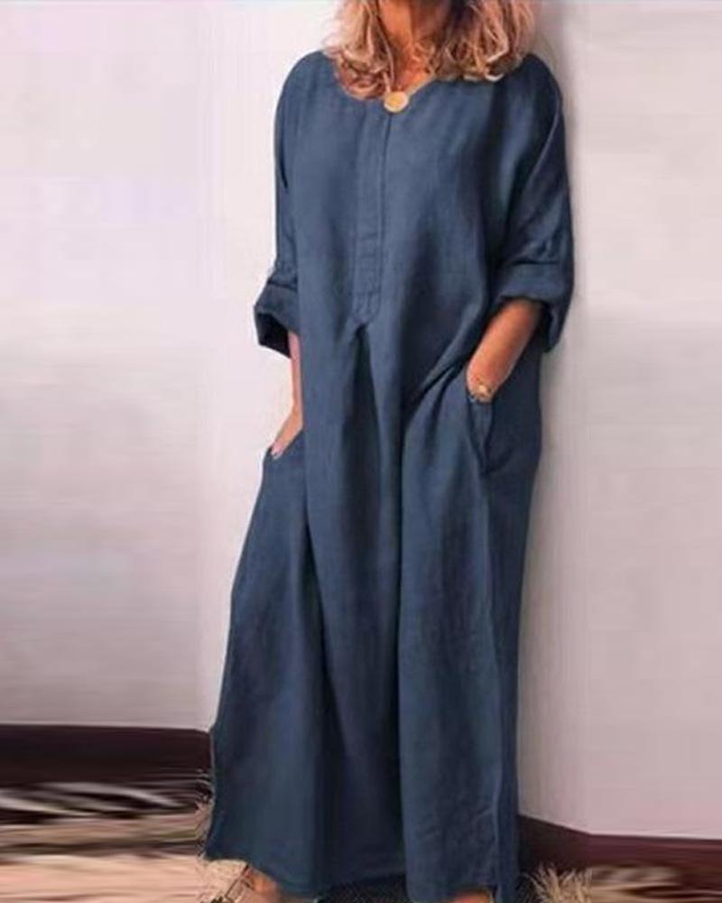 ivrose / Double Pocket Long Sleeve Maxi Dress