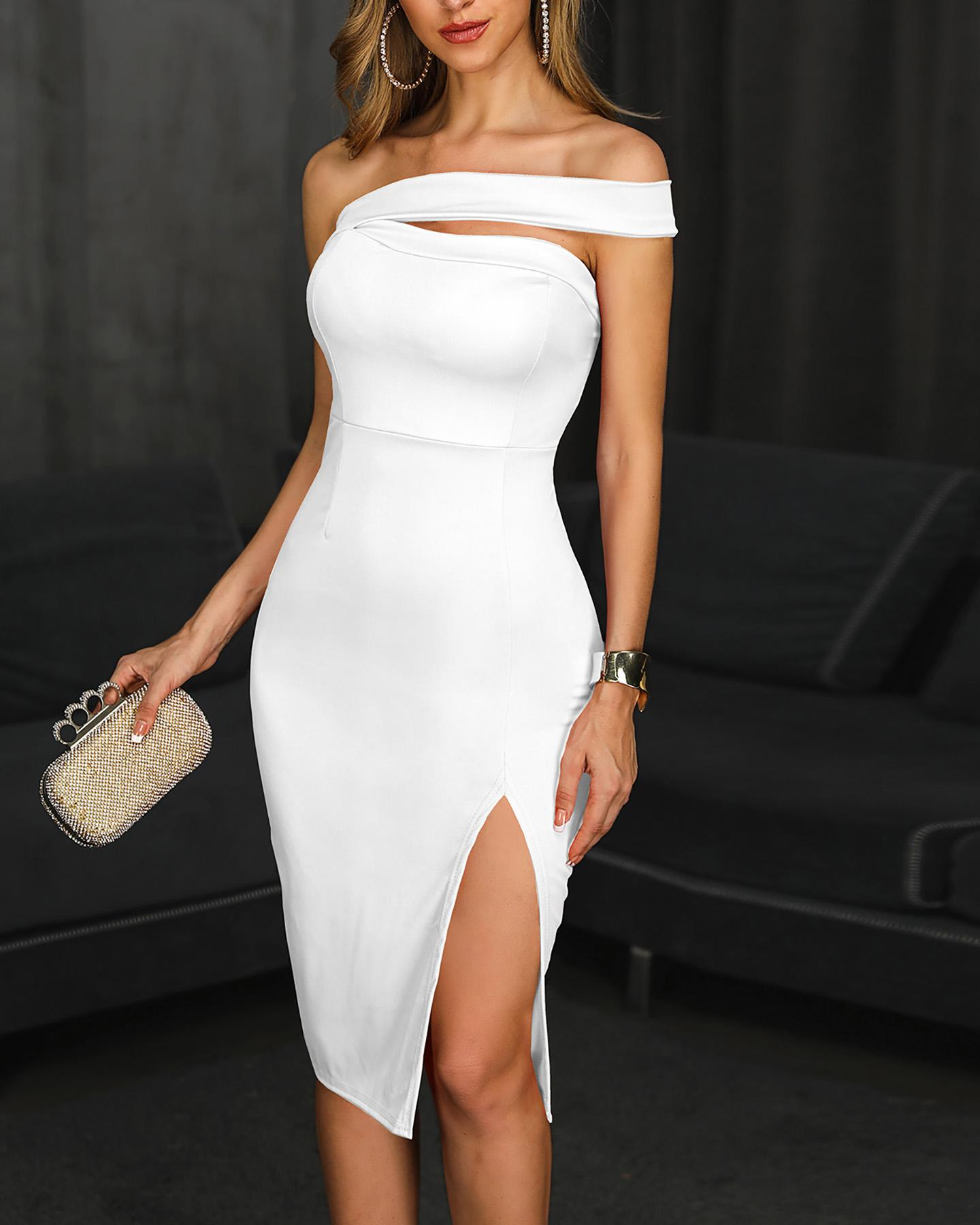 ivrose / One Shoulder Slit Party Dress