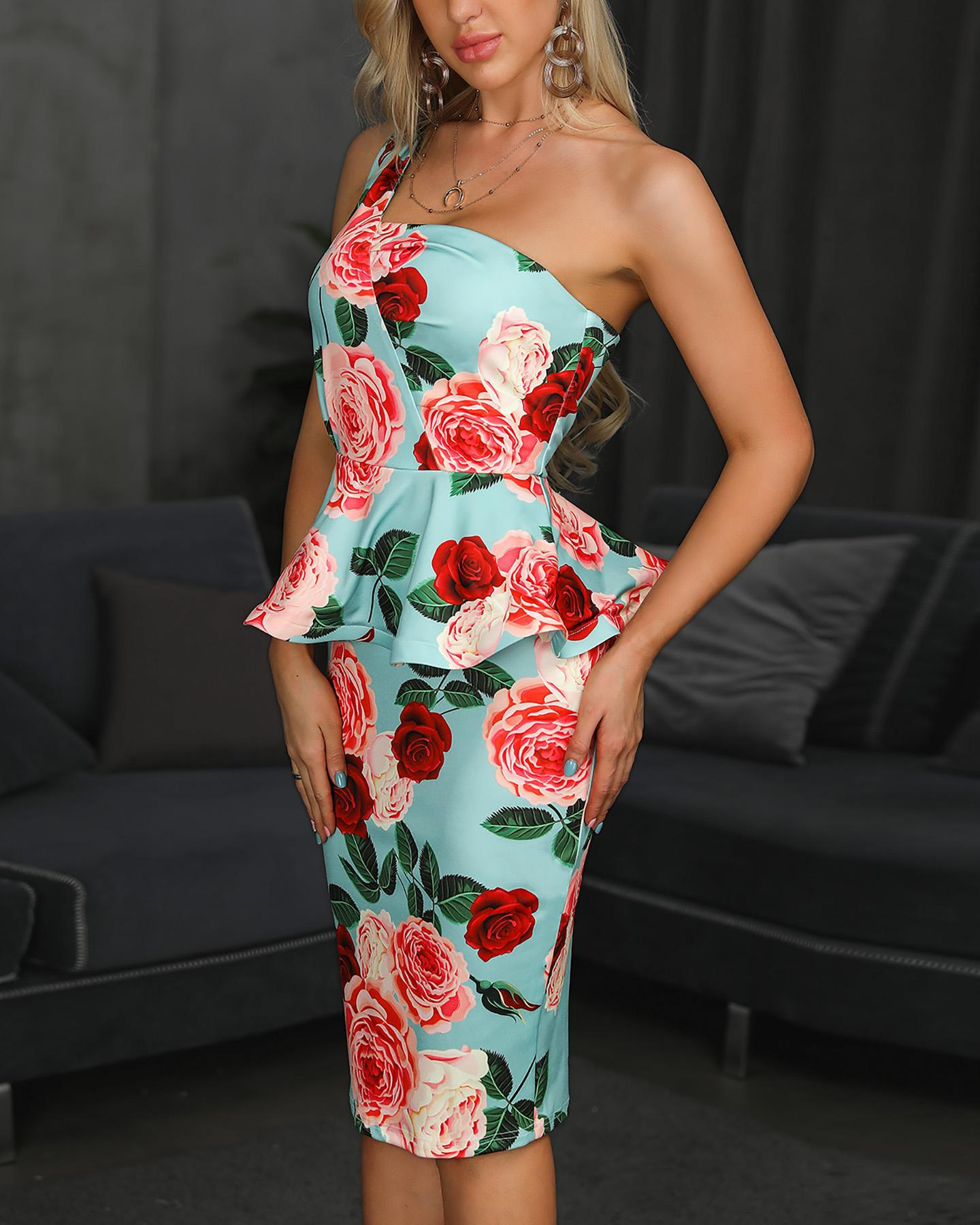 One Shoulder Floral Peplum Bodycon Dress фото