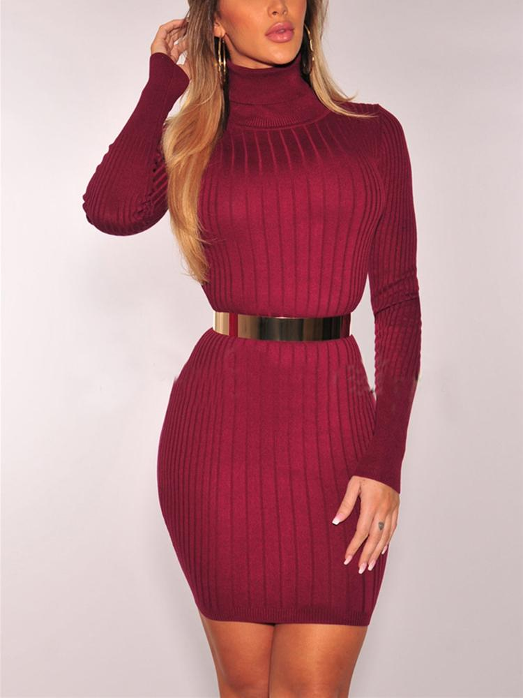 High Neck Rib Bodycon Dress