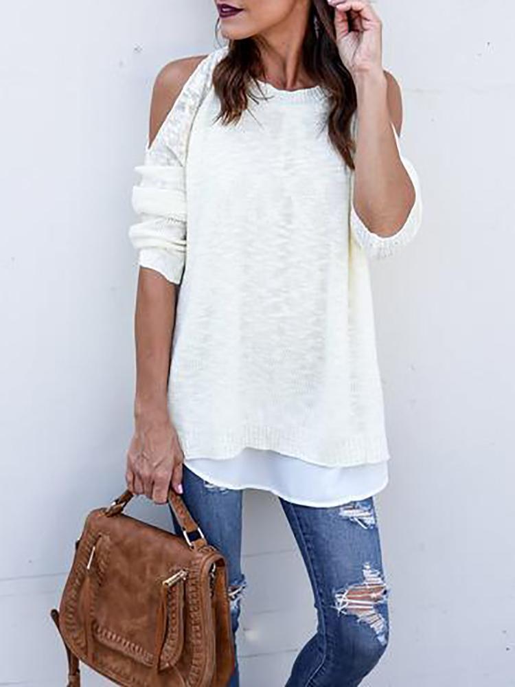 Мода Открытый Плеча Повседневный Блузка