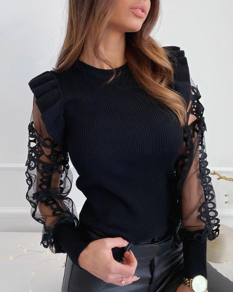 Mesh Lace Trim Frill Ribbed Blouse фото