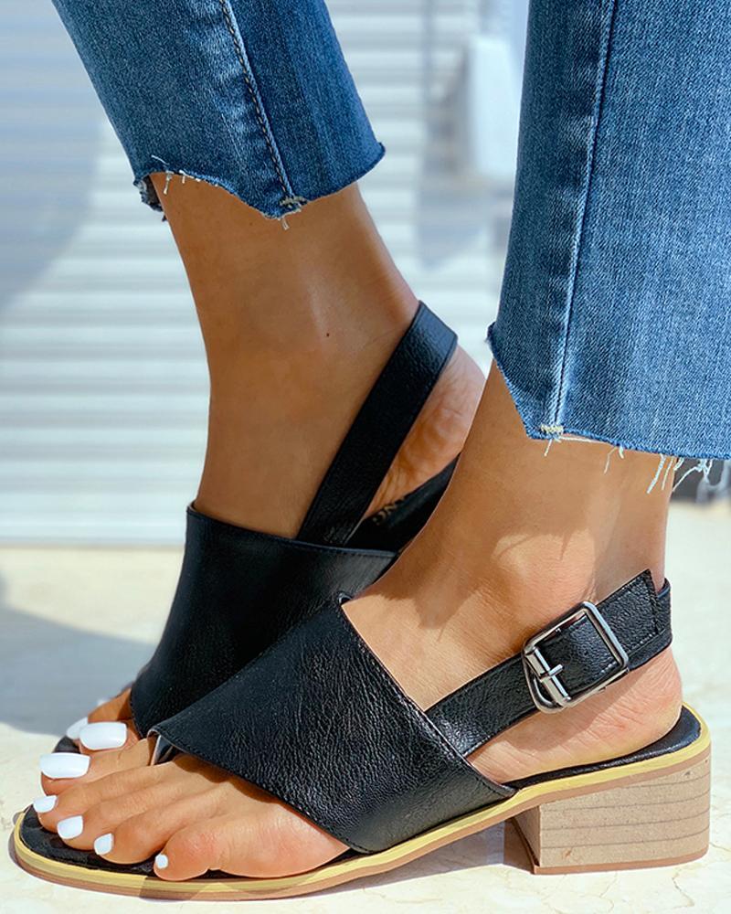 Toe Post Slingback Chunky Heeled Sandals фото
