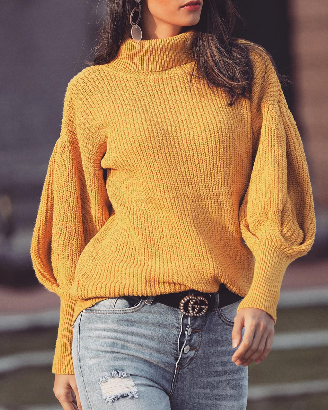 Solid Lantern Sleeve High Neck Sweater фото