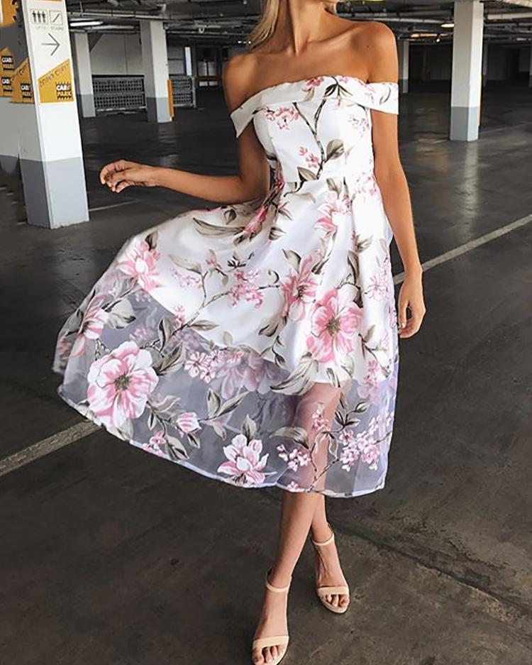 Off shoulder Floral Print Mesh Pleated Dress