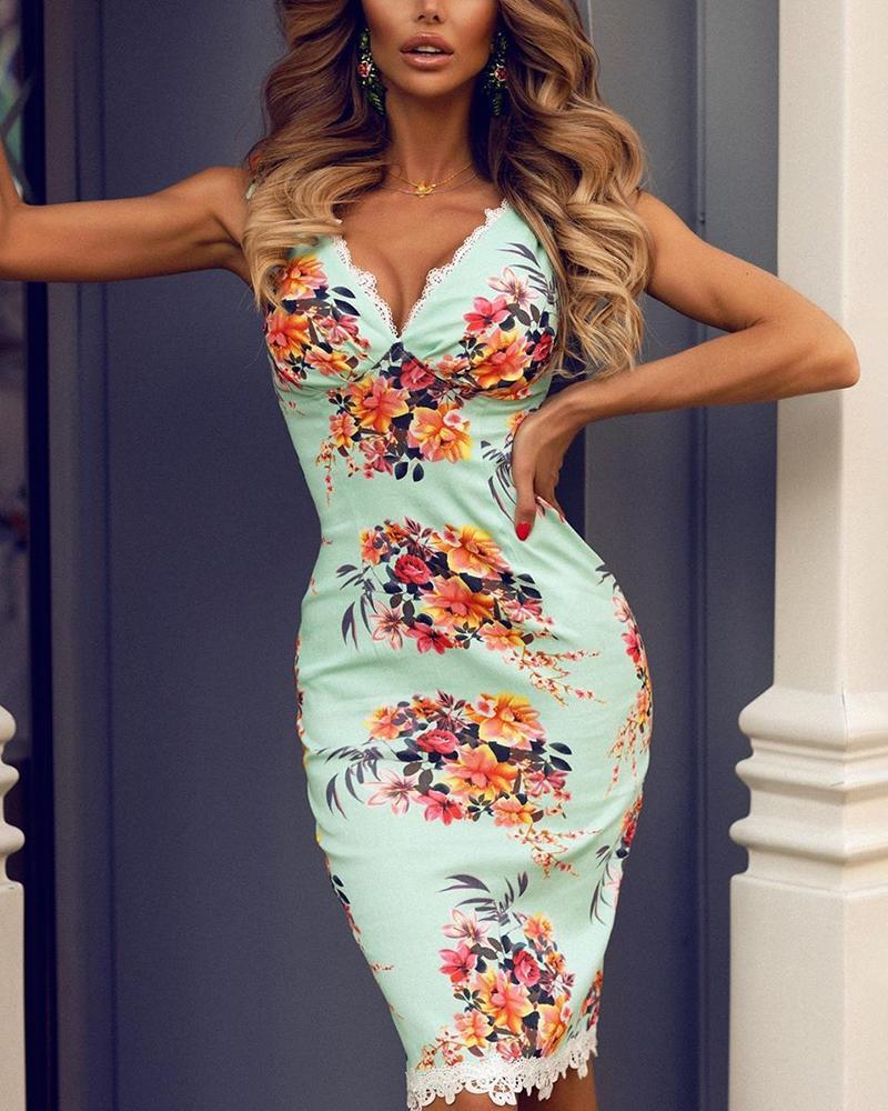boutiquefeel / Vestido ajustado con ribete de encaje estampado floral