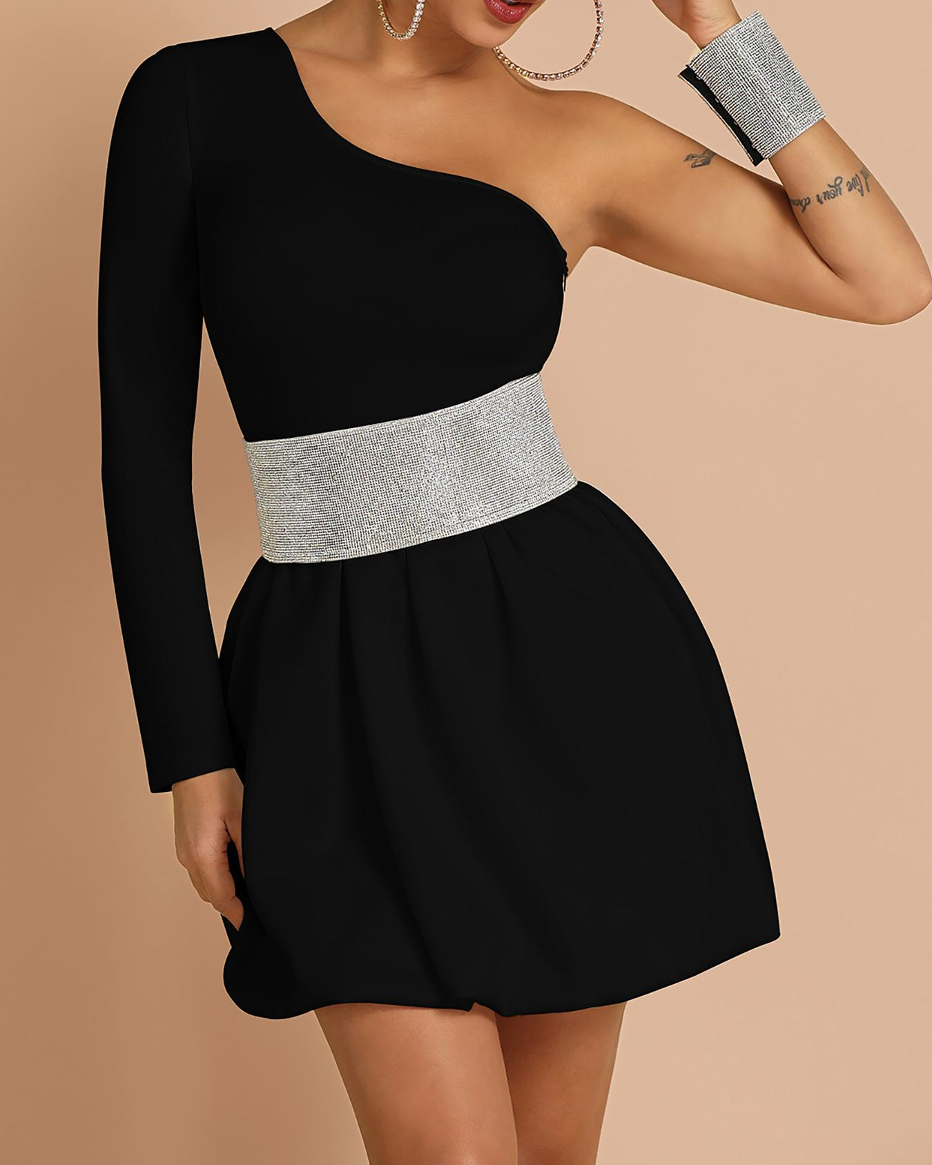 One Shoulder Gem-Studded Insert Dress