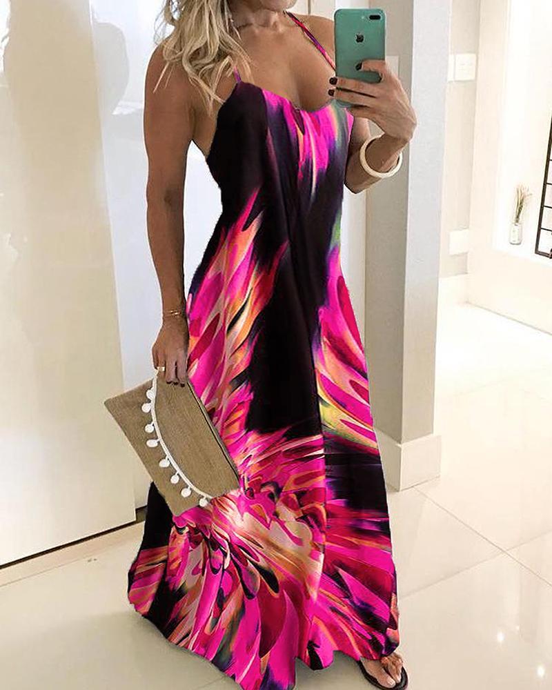 joyshoetique / Spaghetti Strap Colorful Print Maxi Dress