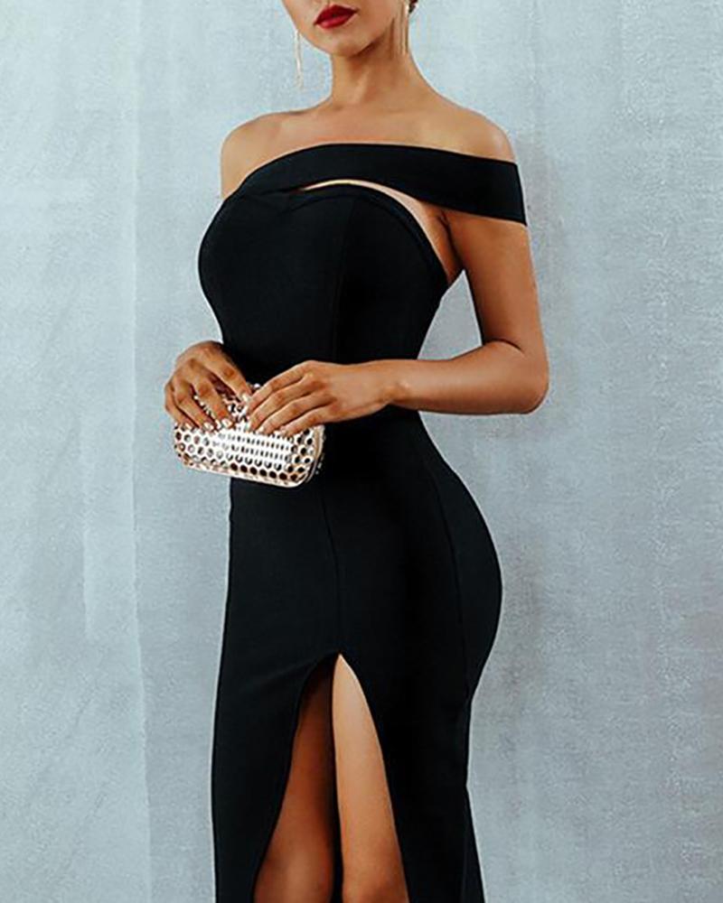 boutiquefeel / Um ombro vestido de festa de fenda