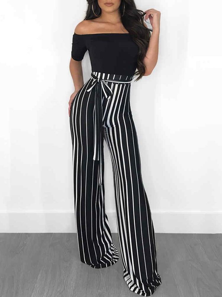 chicme / Off Shoulder Striped Splicing Belted Jumpsuits