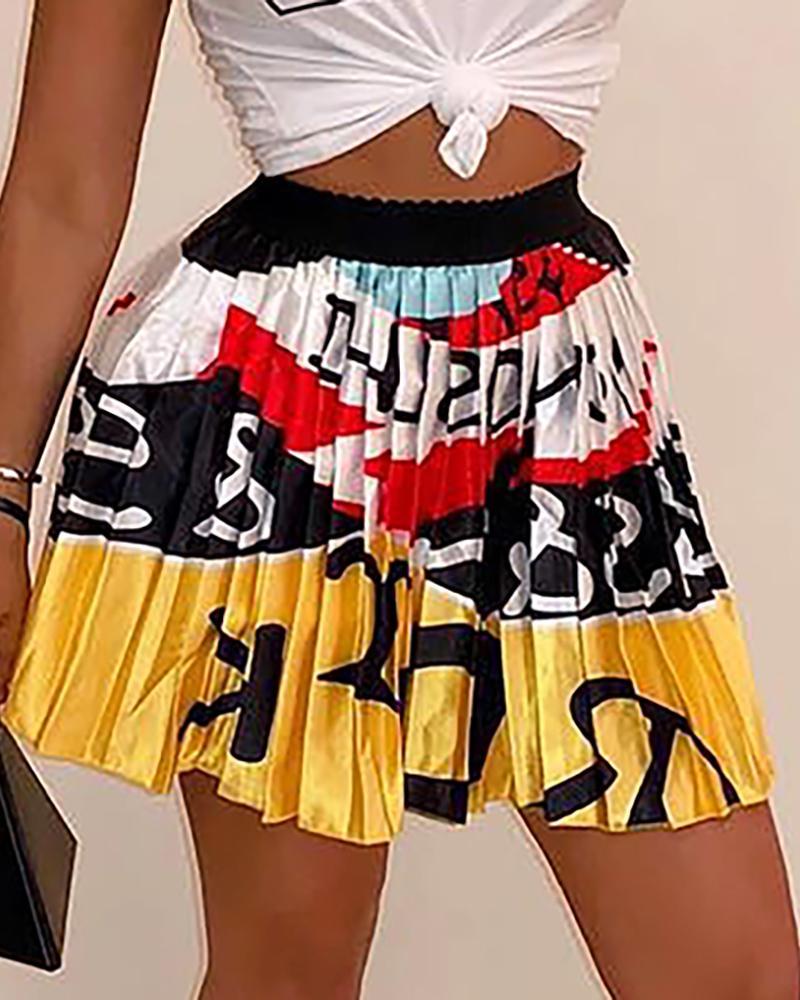 High Waist Printed Pleated Mini Skirt