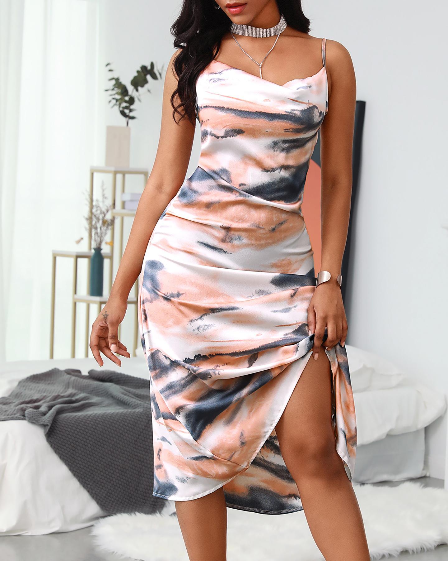 Cowl Neck Tie Dye Cami Dress фото