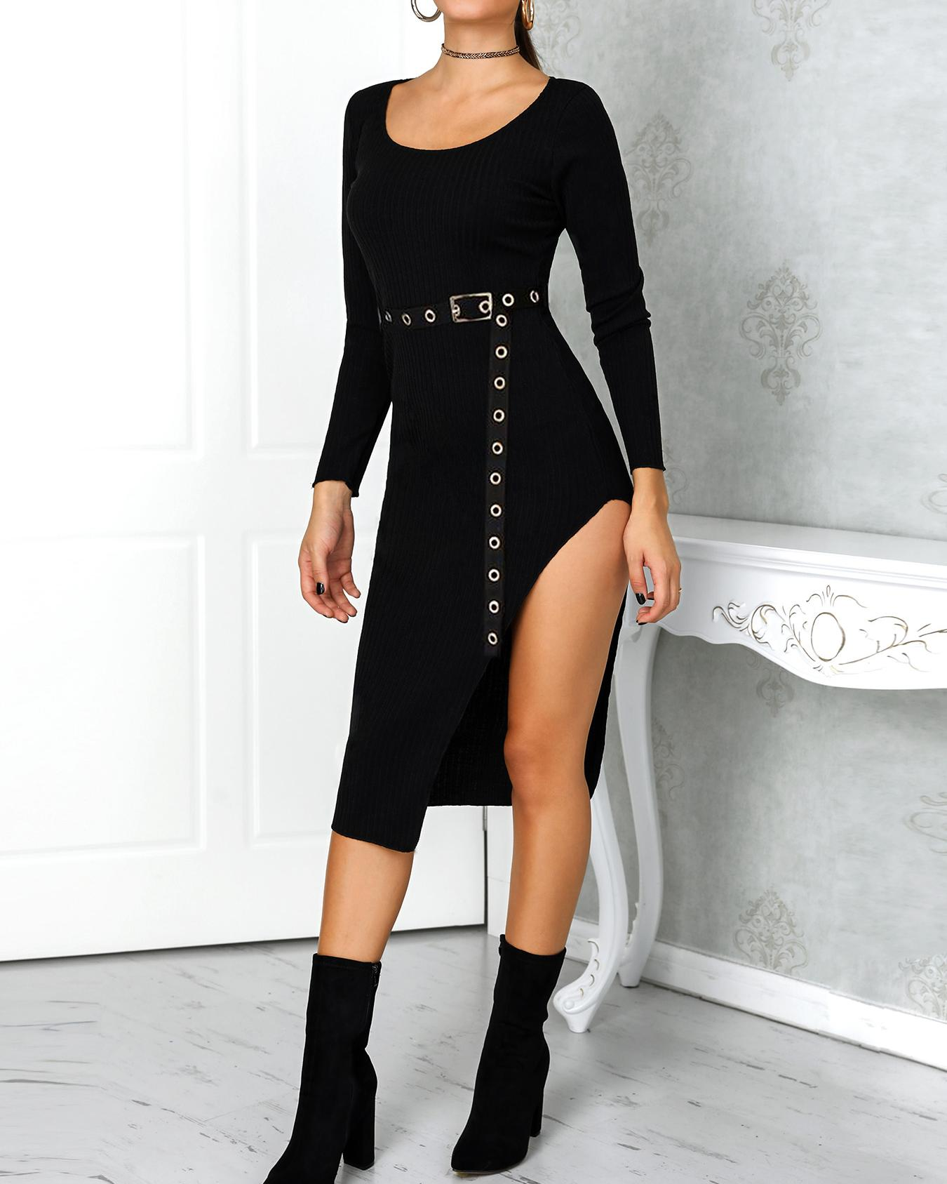 Solid Long Sleeve Thigh Slit Belted Dress