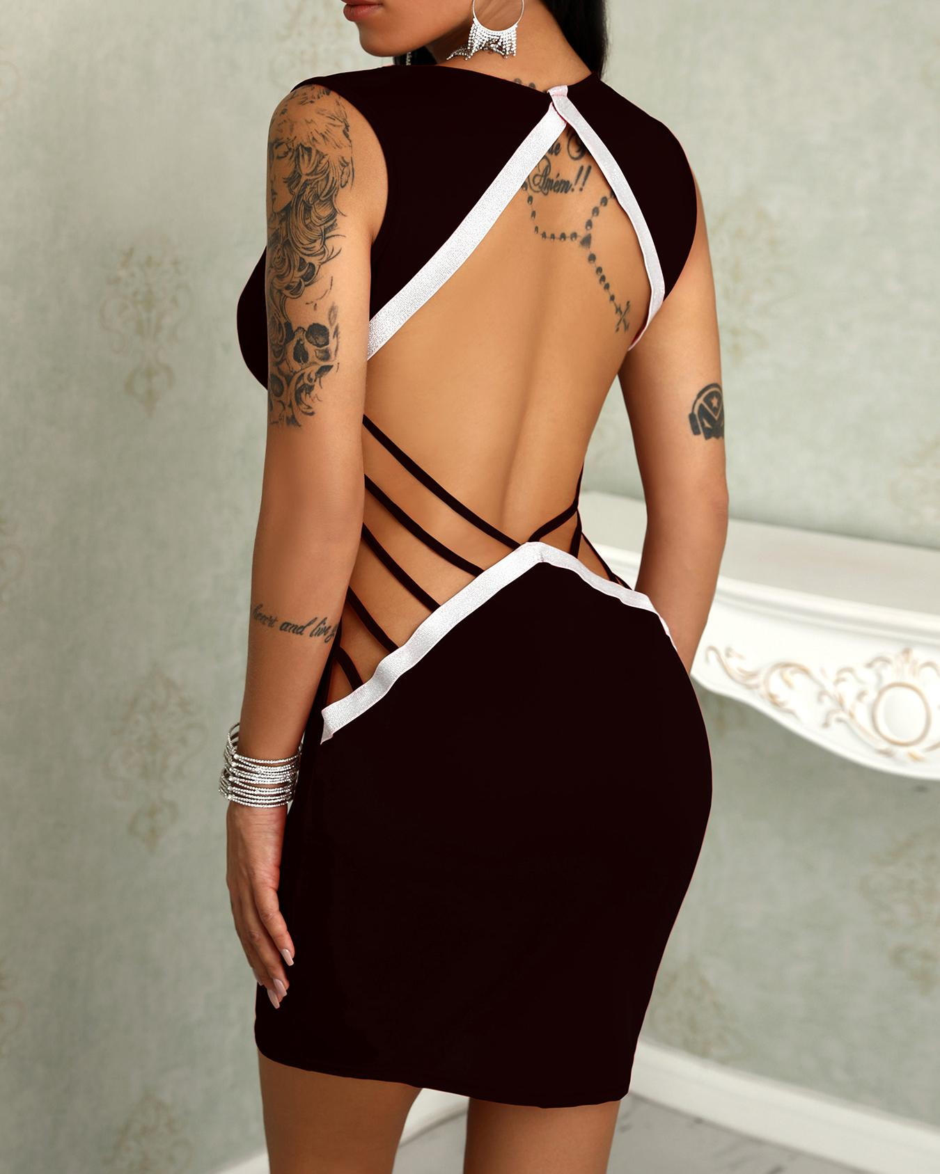 Deep V Ladder Open Back Slinky Bodycon Dress фото