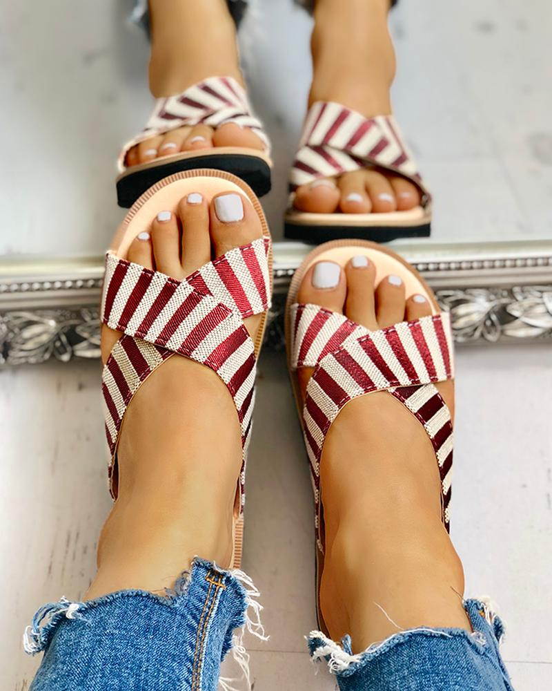 Crisscross Design Striped Flat Sandals фото