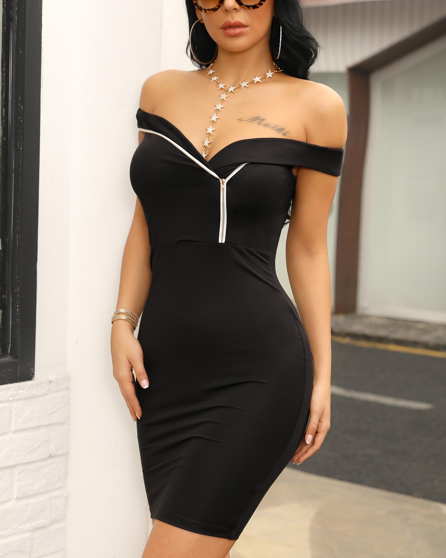 Zip Detail Off Shoulder Bodycon Dress фото