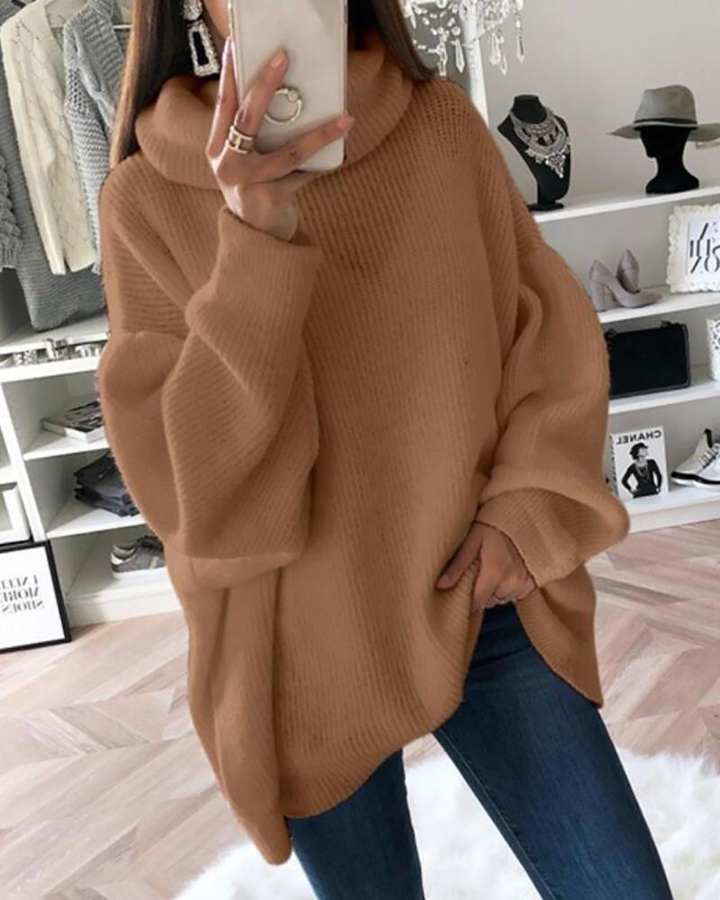 chicme / High Neck Lantern Sleeve Sweater