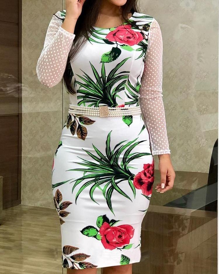 chicme / Vestido con aplicación de malla con estampado floral