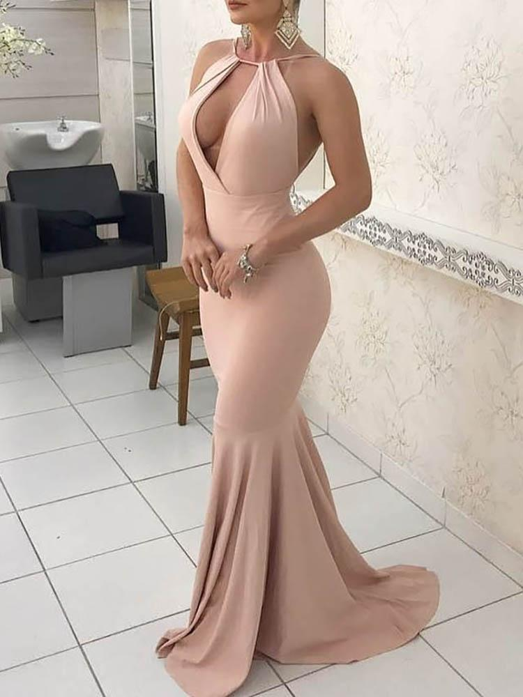 joyshoetique / Halter Open Front Maxi Mermaid Dress