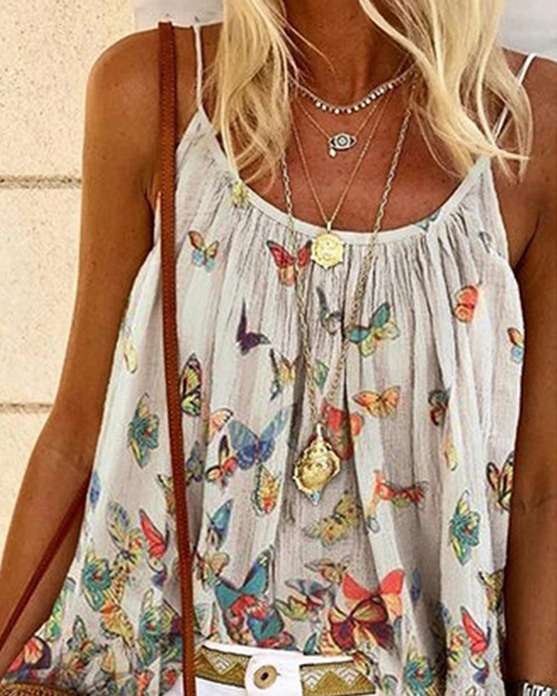 Butterfly Print Sleeveless Casual Top фото