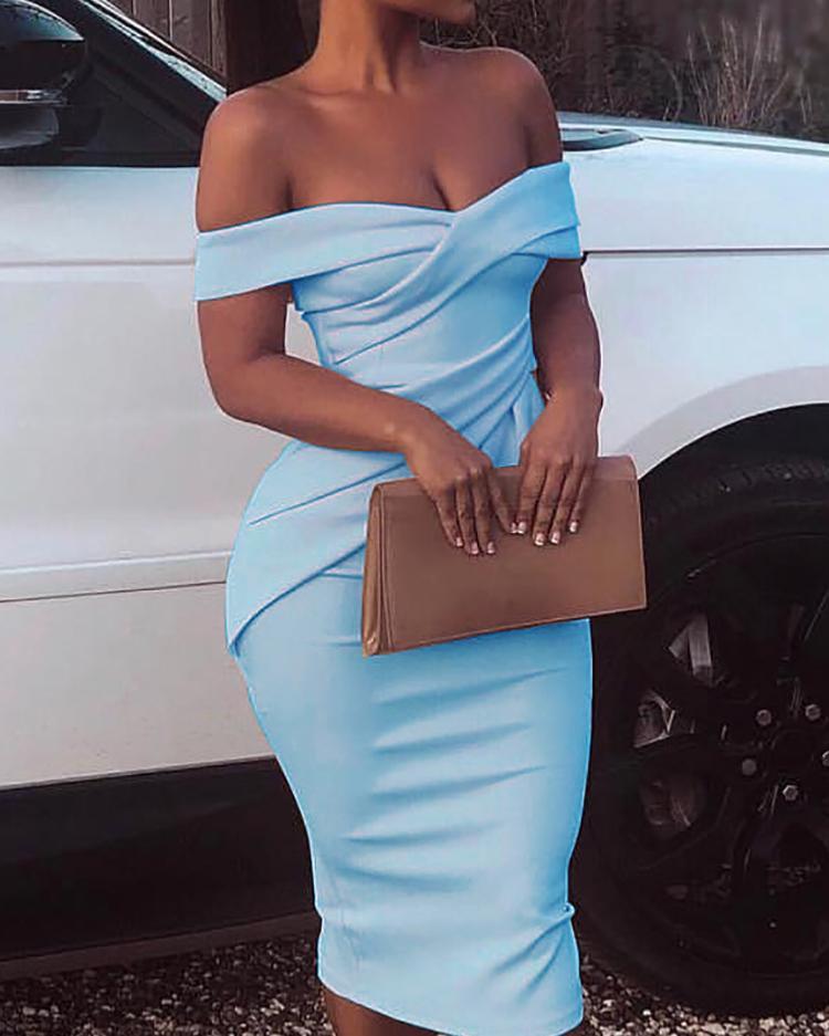 Cross Over Off Shoulder Ruched Bodycon Dress, Light blue