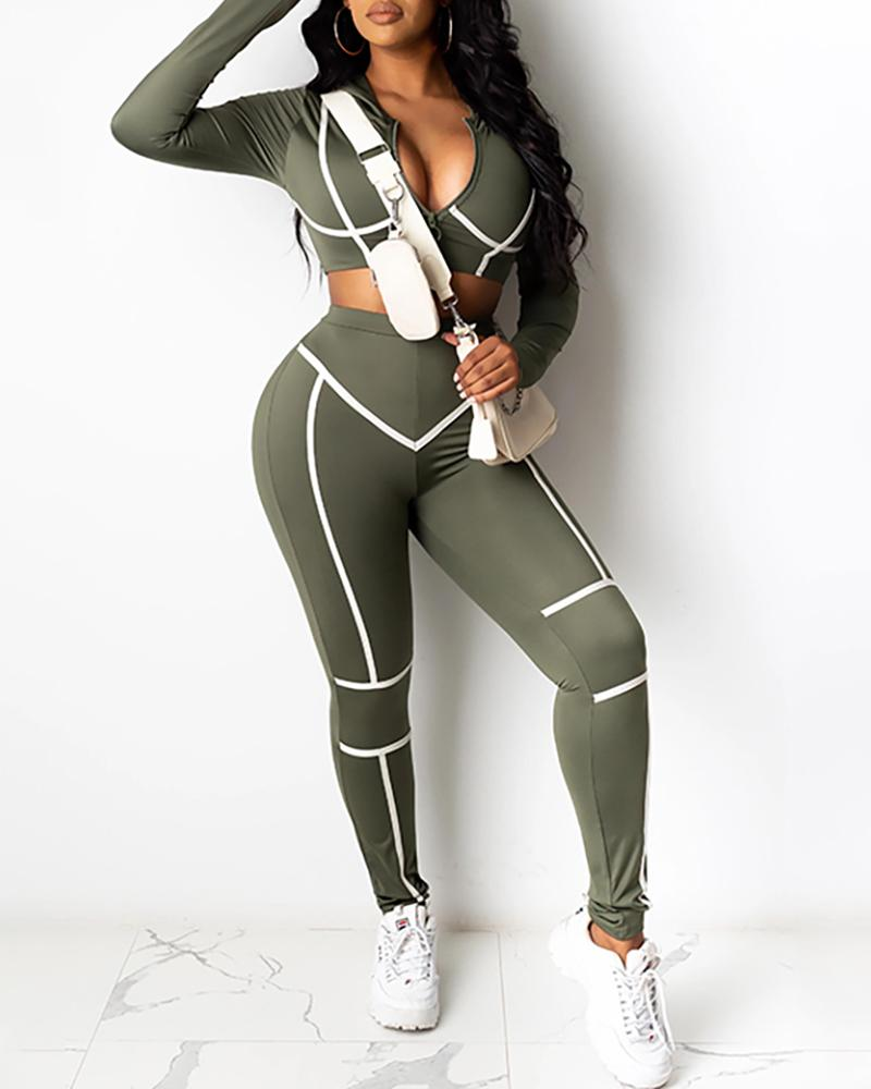 Contrast Piping Zip Front Top & Pant Sets фото