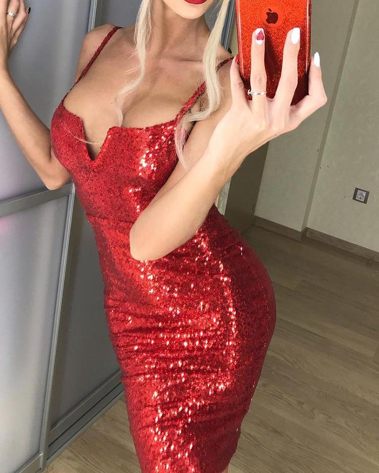Spaghetti Strap Bodycon Sequin Dress фото
