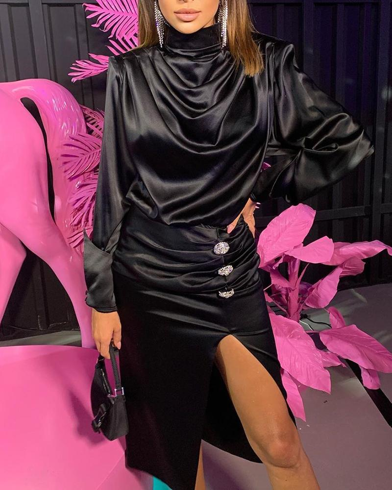 High Neck Waterfall Slit Dress, Black