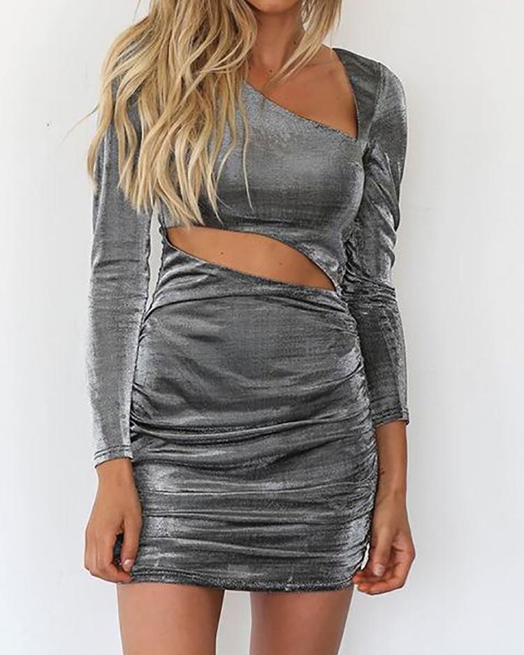 joyshoetique / Velvet Cut Out Ruched Bodycon Dress
