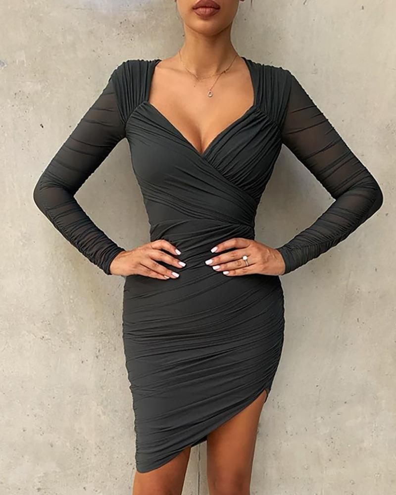 Surplice Wrap Ruched Bodycon Dress фото