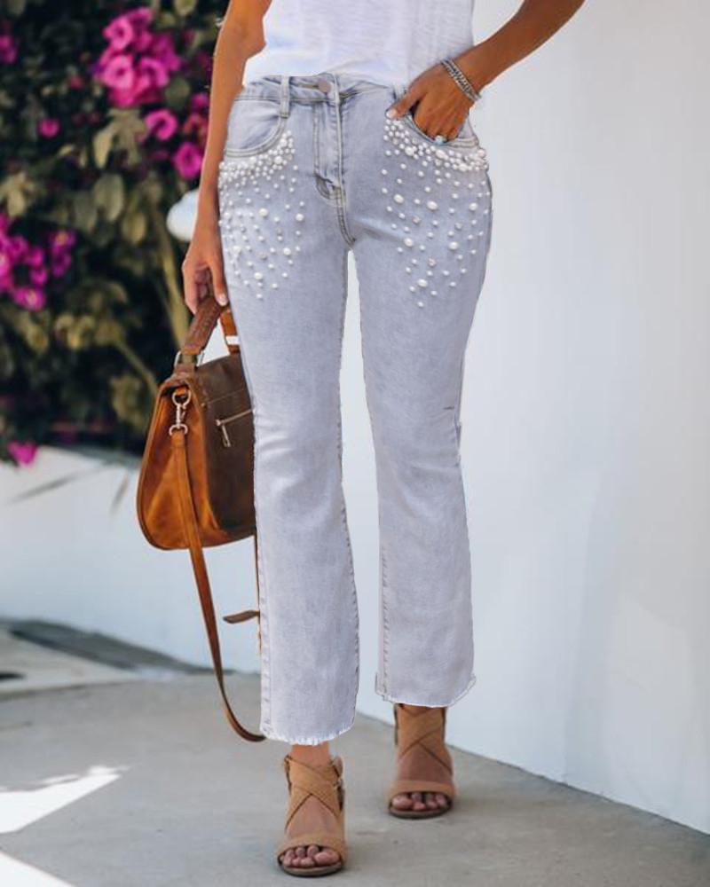 chicme / Calça jeans bootcut com design de bolso